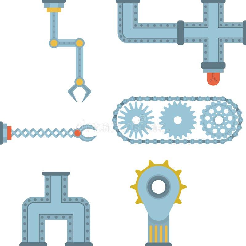 Maszyn części różnego mechanizmu produkci pracy szczegółu projekta przekładni wyposażenia wektorowy machinalny przemysł techniczn ilustracji