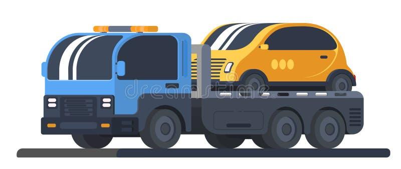 Maszyna dla transportu wadliwi pojazdy Ciężarówki wrecker z samochodem na platformie Drogi pomoc i usługa ilustracji