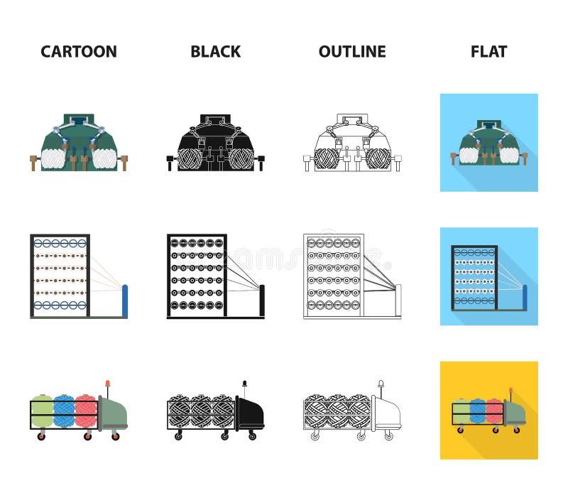 Maszyna, wyposażenie, przędzalnictwo i inna sieci ikona w kreskówce, czerń, kontur, mieszkanie styl , urządzenia, inwentarz, tkan royalty ilustracja
