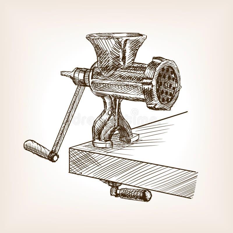 Maszynka do mięsa nakreślenia stylu wektoru ilustracja royalty ilustracja