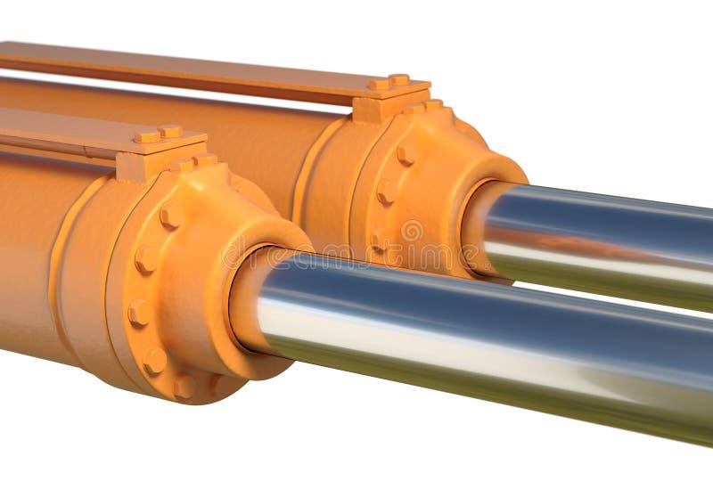 Maszynowa tłokowa hydraulicznego systemu przemysłowa odosobniona 3d ilustracja