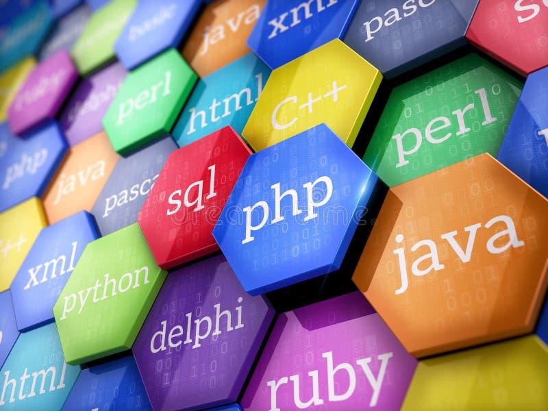 Maszynowego kodu języki na kolorowych elementach