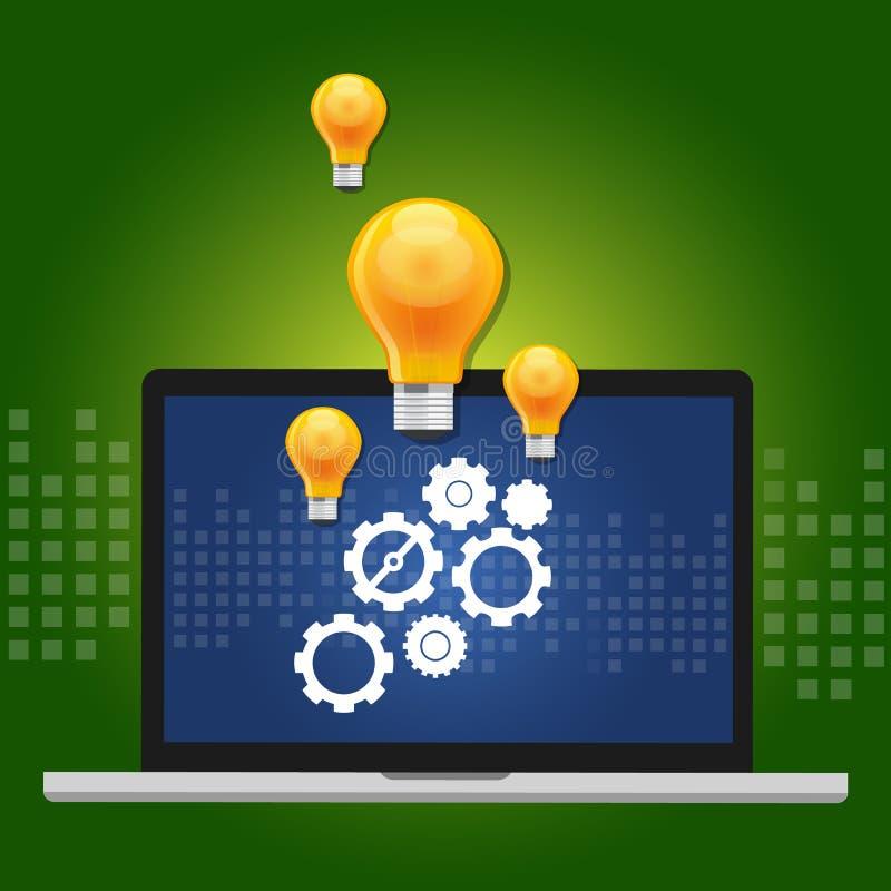Maszynowego uczenie algorytmu pojęcie z przekładnia inside komputerem i pomysł jako lampa ilustracja wektor