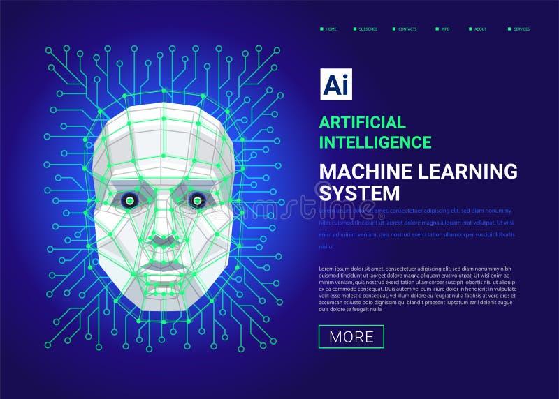 Maszynowego uczenie systemu sieci szablon Twarz ludzka składa się wieloboków, punktów, linii i binarnych dane przepływ na błękici royalty ilustracja