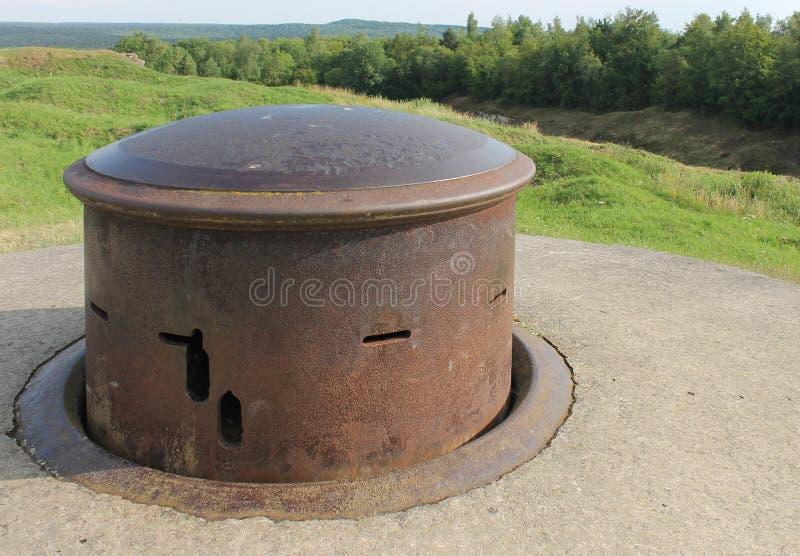 Maszynowy armatniej wieżyczki WW1 fort Douaumont Francja fotografia stock