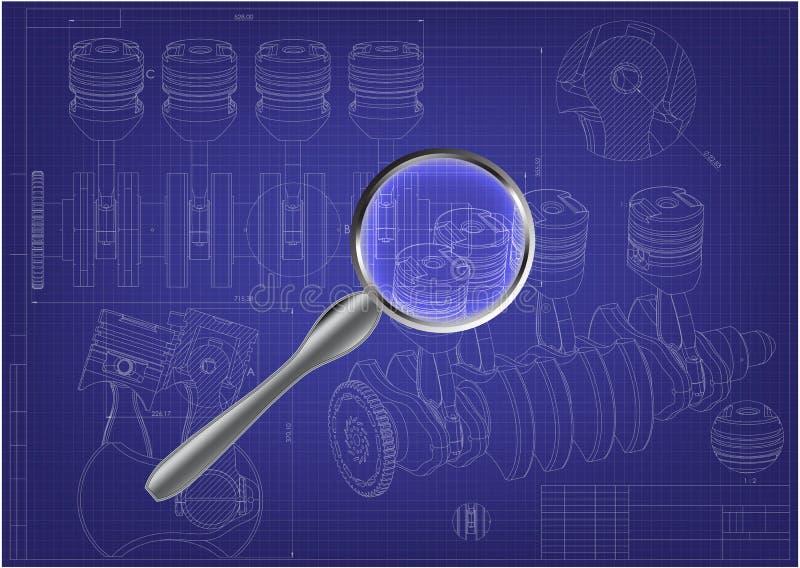 Maszynowy budynku rysunek Parowozowy samochód na błękicie ilustracja wektor