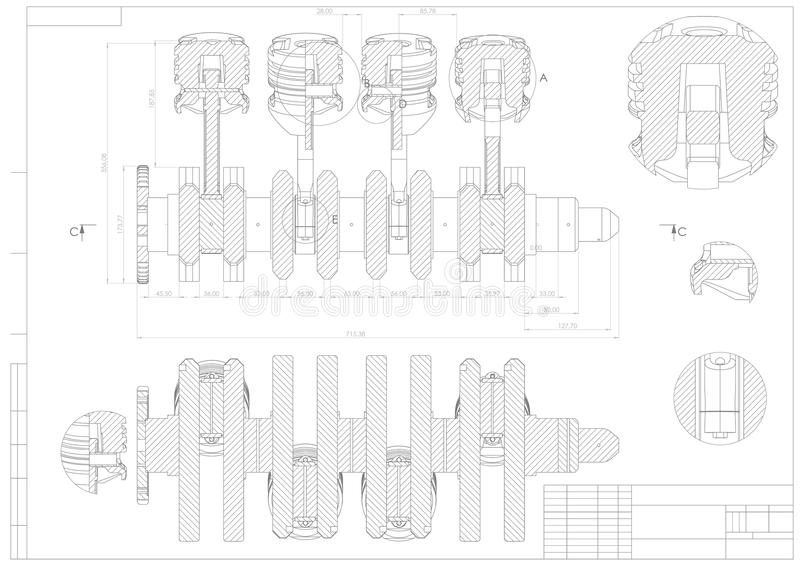 Maszynowy budynku rysunek Parowozowy samochód na bielu ilustracja wektor