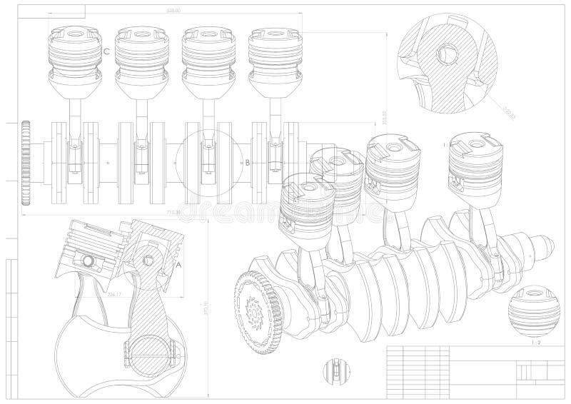 Maszynowy budynku rysunek Parowozowy samochód na bielu royalty ilustracja