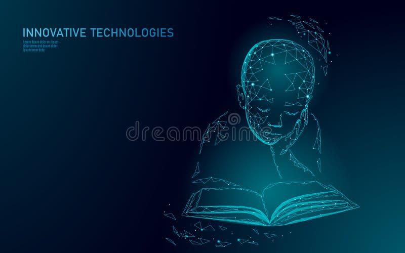 Maszynowy uczenie 3D technologii biznesu niski poli- pojęcie Neural sieci sztucznej inteligencji cyborga dziecka chłopiec kształt ilustracja wektor