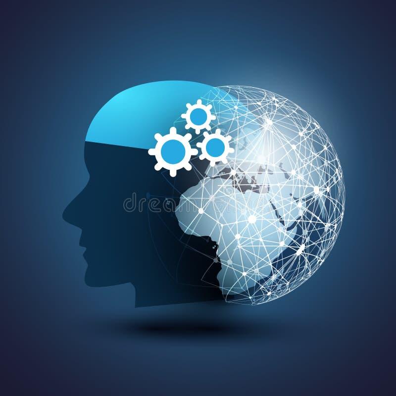 Maszynowy uczenie, Sztuczna inteligencja, chmura Oblicza, Automatyzująca poparcie pomoc i sieć projekta pojęcie, ilustracja wektor