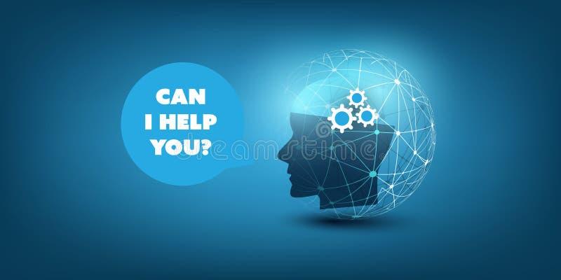 Maszynowy uczenie, Sztuczna inteligencja, chmura Oblicza, Automatyzująca poparcie pomoc i sieć projekta pojęcie, royalty ilustracja