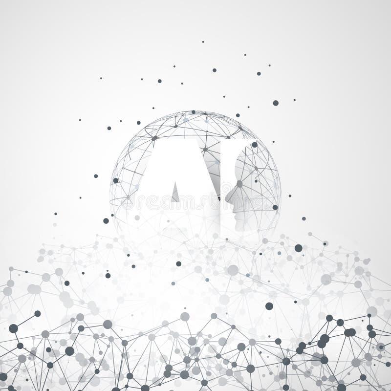 Maszynowy uczenie, Sztuczna inteligencja, chmury Obliczać i sieć projekta pojęcie z, Geometryczną sieci siatką i AI etykietką royalty ilustracja