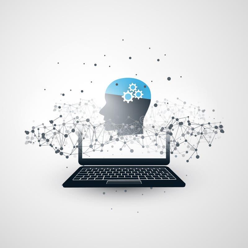Maszynowy uczenie, Sztuczna inteligencja, chmury Obliczać, sieć projekta pojęcie z laptopem, sieci siatka i Ludzka głowa, ilustracji
