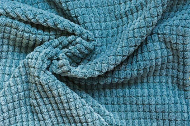 Matéria têxtil azul, fim acima Vista superior Teste padrão checkered abstrato fotografia de stock