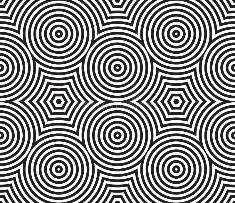 Matéria têxtil circular psicadélico preto e branco ilustração stock