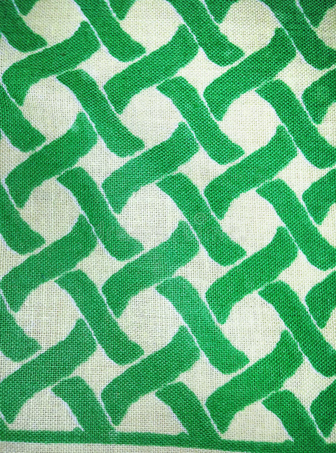 Matéria Têxtil De Algodão Tecida Em Verde E No Branco Imagem de Stock