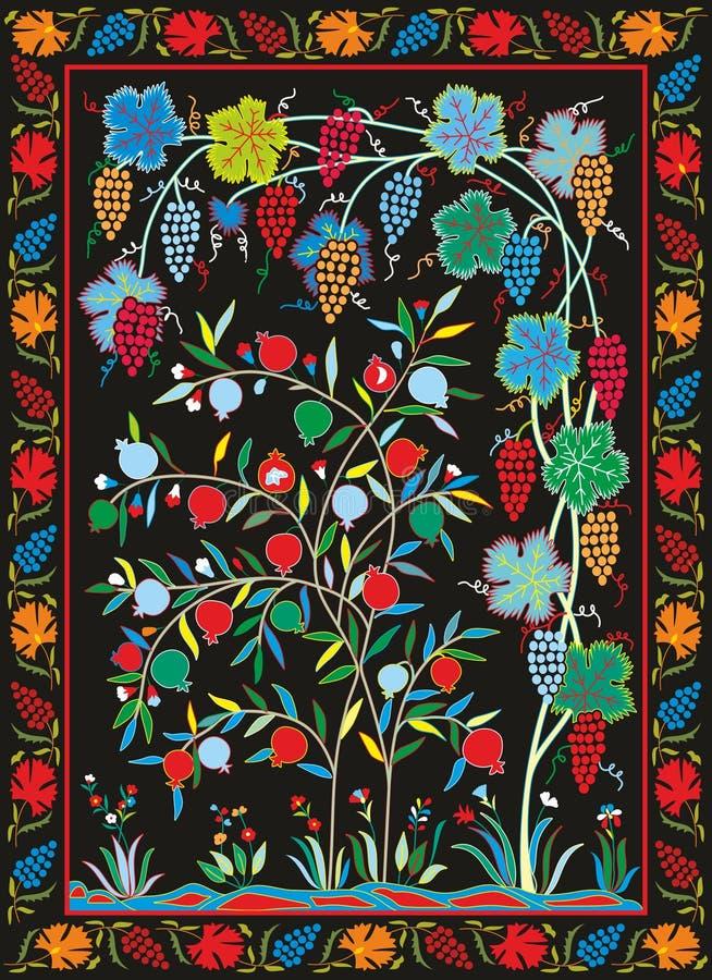 Matéria têxtil de Suzani - bordado do Uzbeque ilustração royalty free