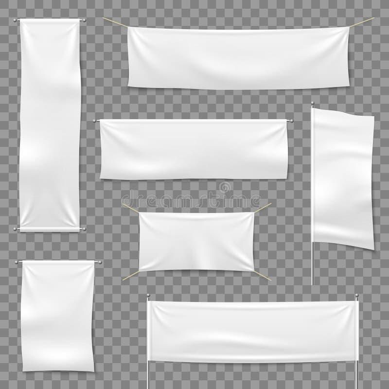 Matéria têxtil que anuncia bandeiras Bandeiras e bandeira de suspensão, sinal horizontal branco de pano da tela da placa, vetor d ilustração do vetor