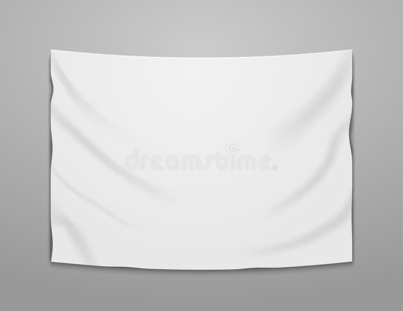 Matéria têxtil vazia branca da bandeira do vetor Projeto de suspensão vazio da ilustração da bandeira da tela ilustração do vetor
