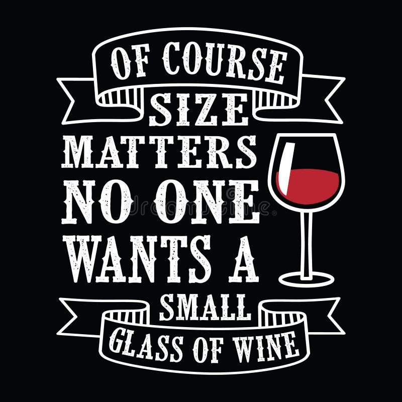 Matérias do tamanho, citações do vinho e provérbio engraçados fotografia de stock royalty free