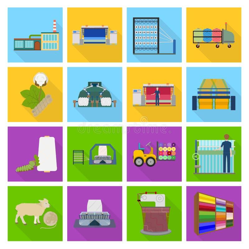 Matérias têxteis, indústria, fábrica e o outro ícone da Web no estilo liso Planta, moinho, construção, ícones na coleção do grupo ilustração do vetor