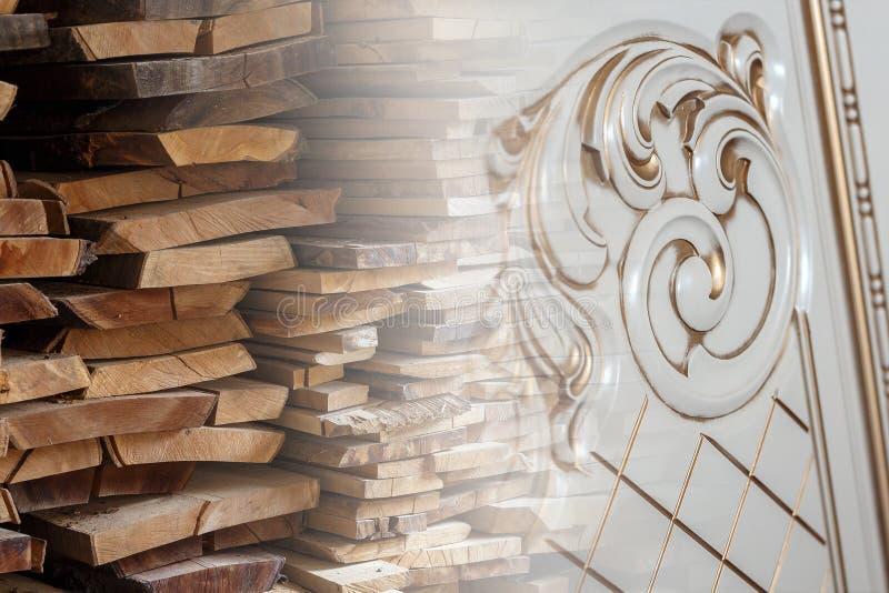 Matériau de construction en bois de bois de construction et meubles découpés décorés pour le fond et la texture Image créatrice photos stock