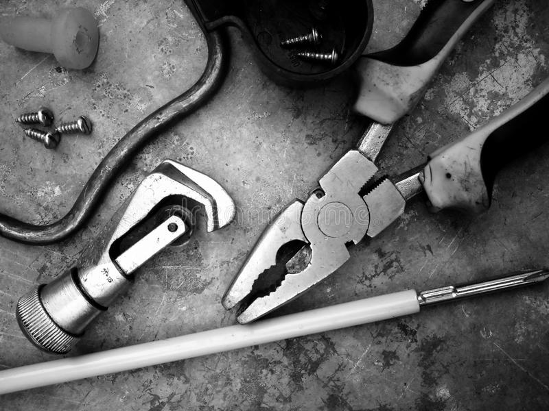 Matériaux électriques d'outils photographie stock libre de droits