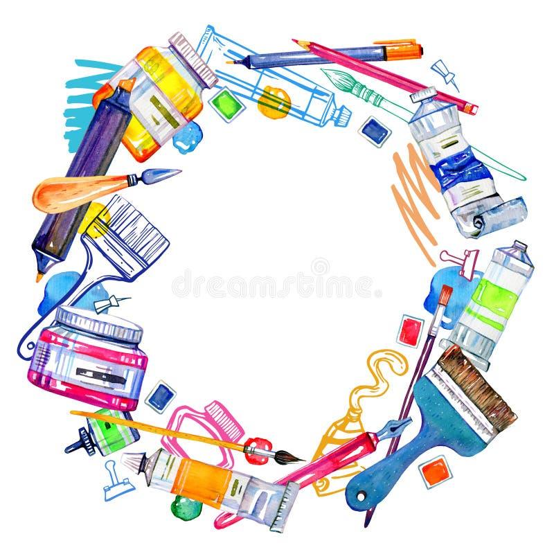 Matériaux d'artiste dans le cadre rond - couteaux de palette, brosses, stylos et tubes Croquis d'ensemble et illustration tir?s p illustration stock
