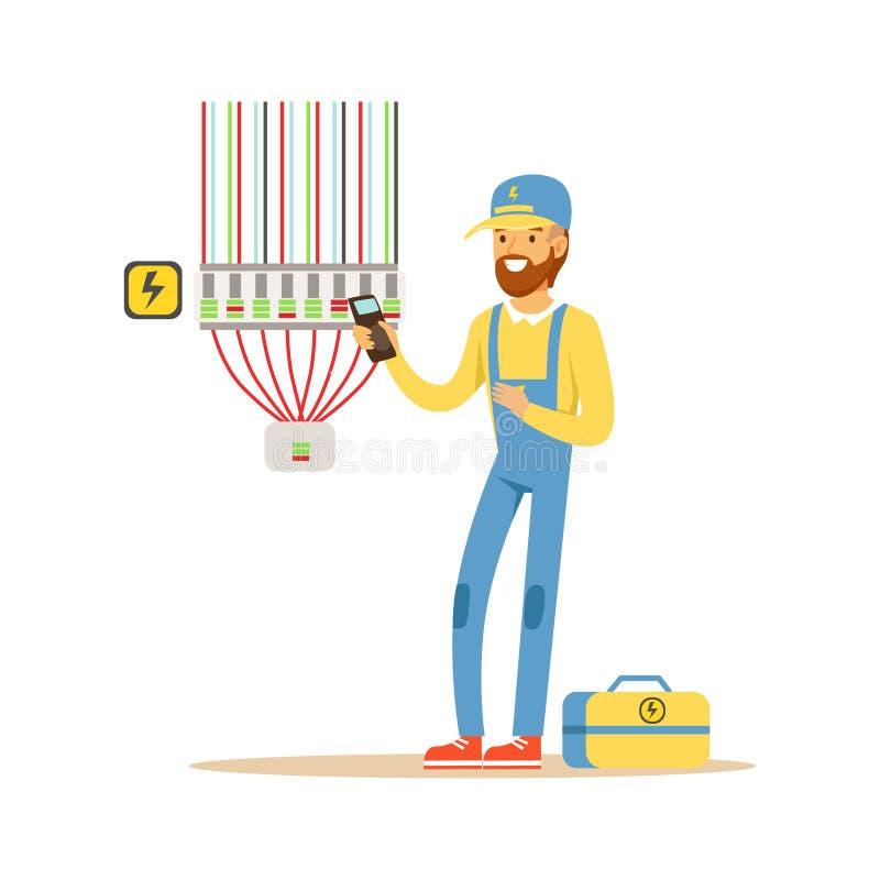 Matériel électrique d'essai d'électricien, mesurant la production de tension, homme électrique exécutant le vecteur d'ouvrages él illustration de vecteur