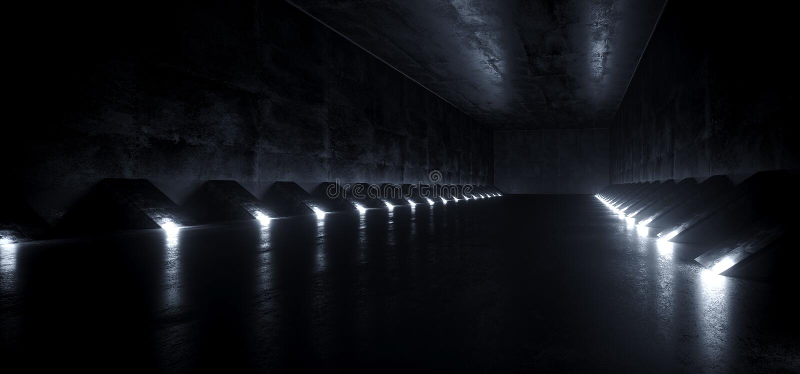 Matériel concret grunge de Sci fi de bateau de tunnel étranger moderne futuriste vide sombre de couloir et lumières menées blanch illustration libre de droits