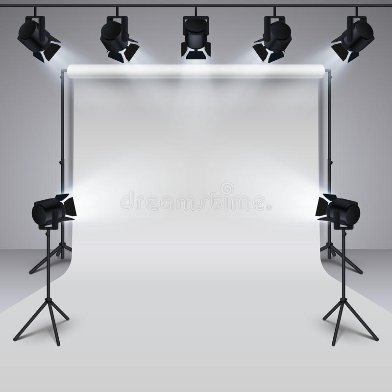 Matériel d'éclairage et fond vide blanc de studio professionnel de photographie illustration du vecteur 3d illustration stock
