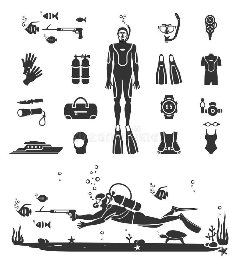 Matériel de BCD de plongée à l'air illustration libre de droits