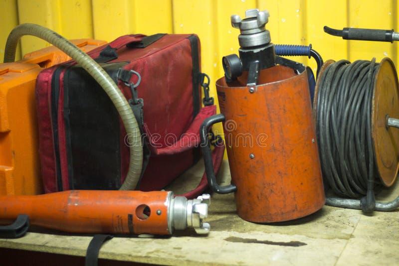 Matériel de formation de caserne de pompiers photo libre de droits
