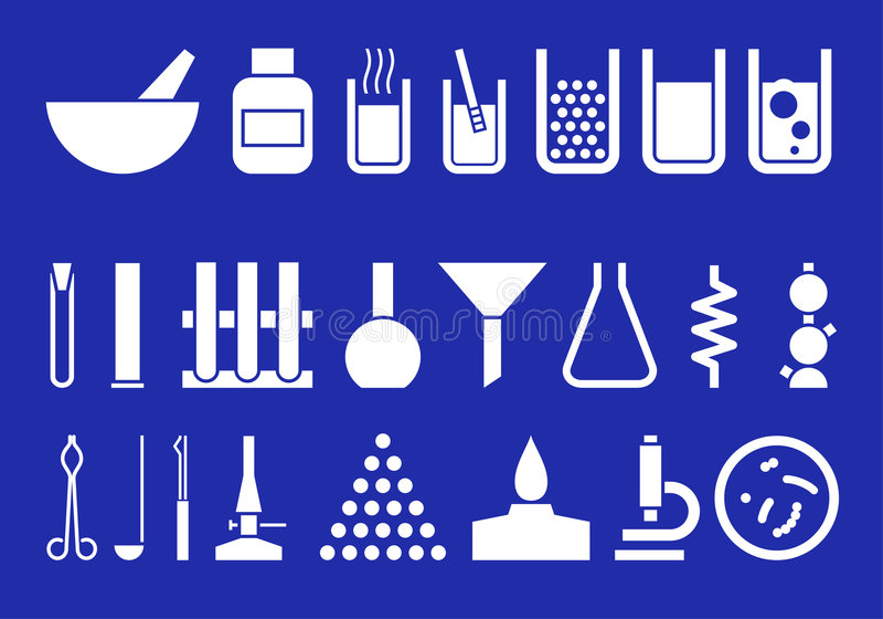 Matériel de laboratoire - ensemble de pictogrammes de vecteur illustration de vecteur