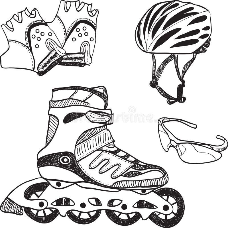 Matériel de patinage de rouleau - syle de griffonnage illustration stock