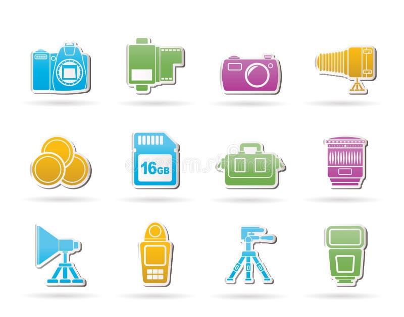 Matériel de photographie et graphismes d'outils illustration de vecteur