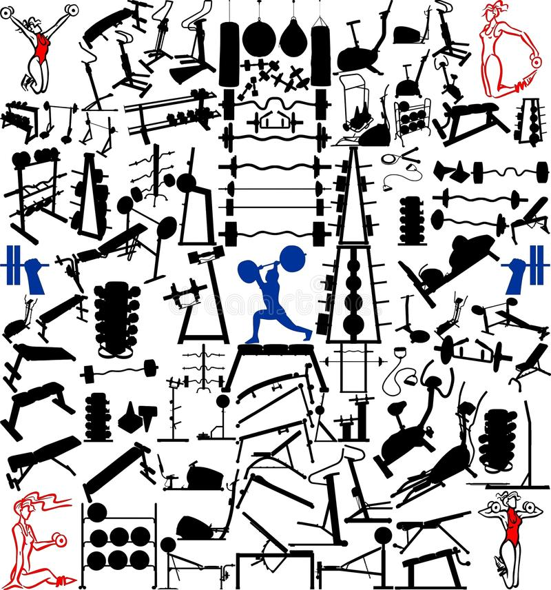 Matériel et objets de gymnastique cents vecteurs illustration stock