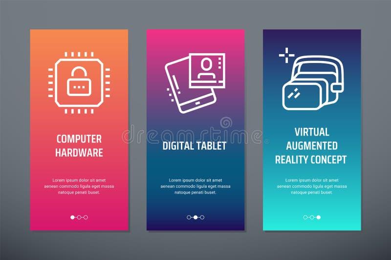 Matériel informatique, comprimé de Digital, cartes verticales augmentées virtuelles de concept de réalité avec les métaphores for illustration libre de droits