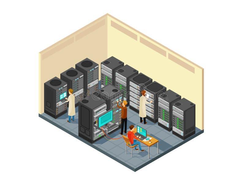 Matériel informatique dans la chambre de serveur de réseau avec le personnel Illustration isométrique de vecteur de centre de séc illustration stock