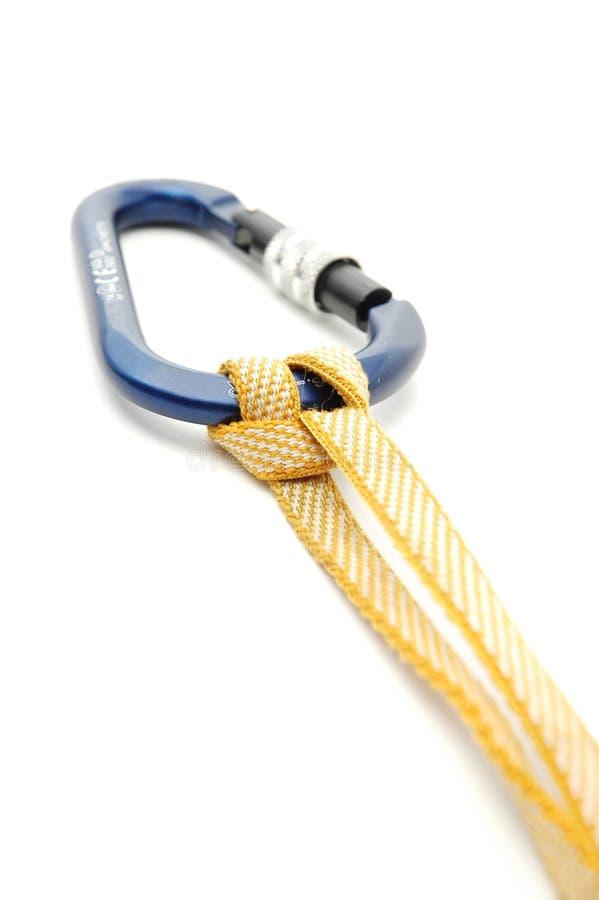 Matériel s'élevant - Carabiners - verrouillez avec le noeud prusic photo stock