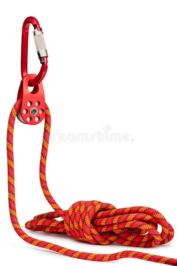 Matériel s'élevant - poulie, corde, carabiner photo stock