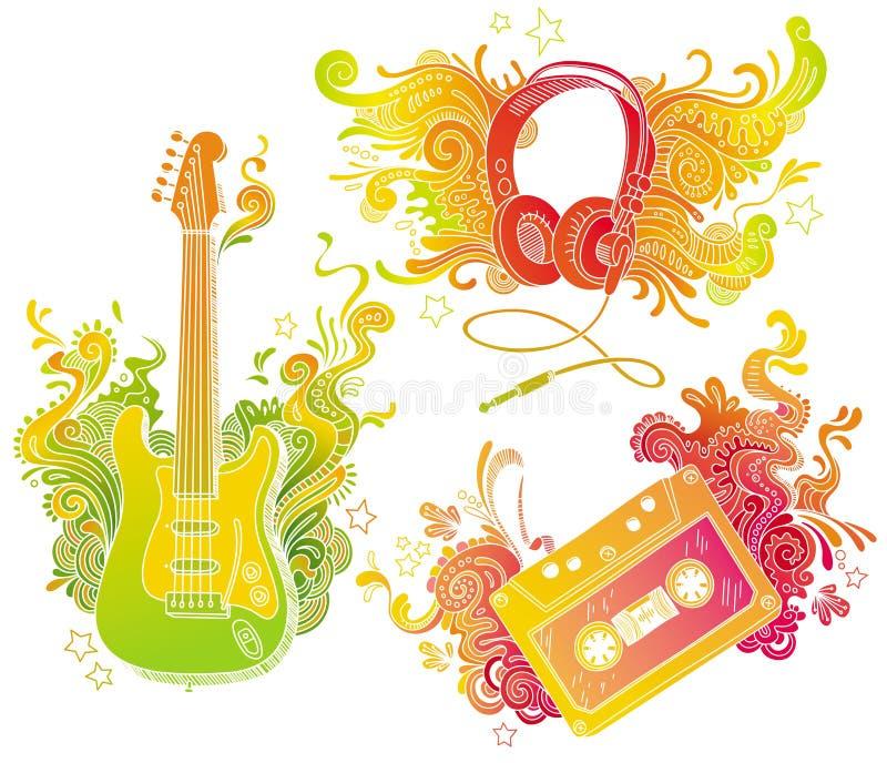 Matériels musicaux avec le décor de griffonnage illustration stock