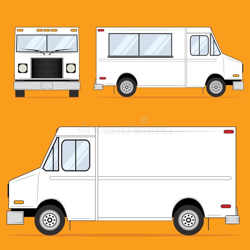Mat åker lastbil tomt stock illustrationer