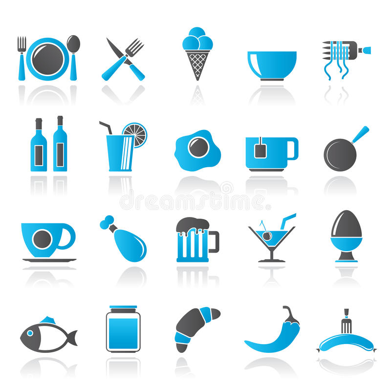 Mat-, drink- och restaurangsymboler vektor illustrationer