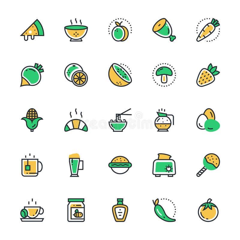 Mat drinkar, frukter, grönsakvektorsymboler 3 royaltyfri illustrationer