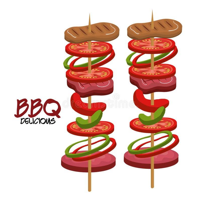 Mat för bbq för köttpinne läcker vektor illustrationer