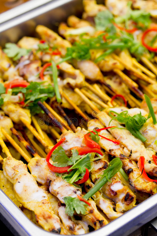 Mat för grisköttSatay thailändsk stil arkivfoton