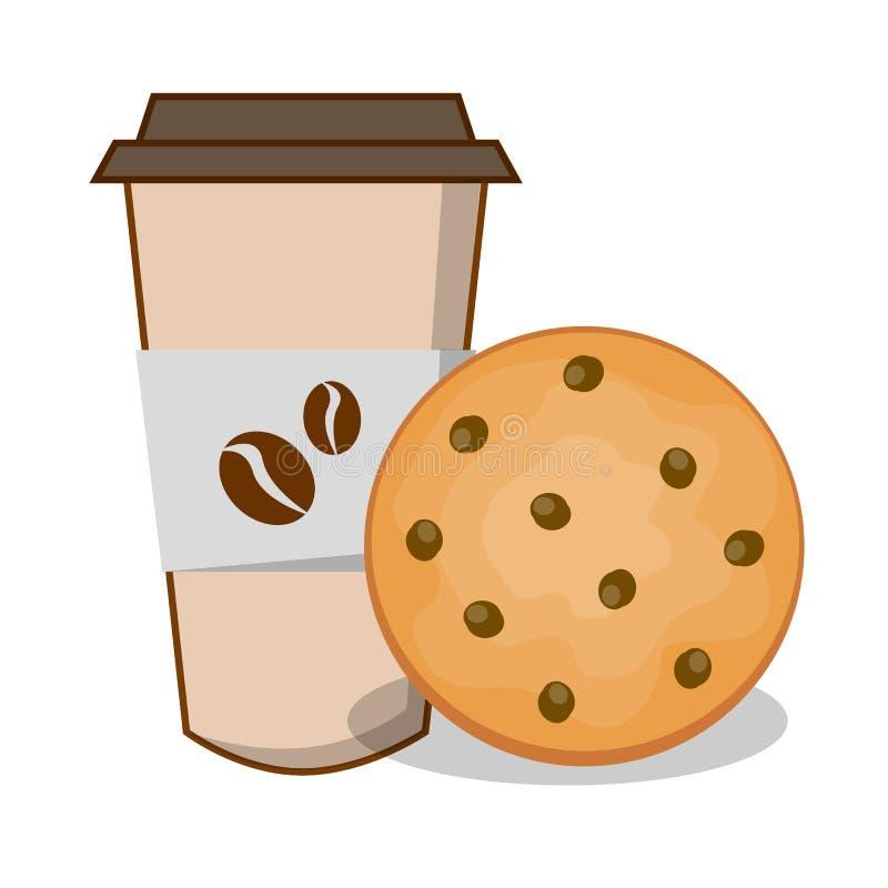 Mat för illustration för vektor för kaffekopp och kaka arkivbilder