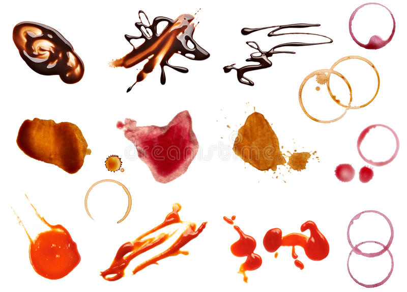 Mat för ketchup för choklad för vin för fläckfläckkaffe royaltyfria foton