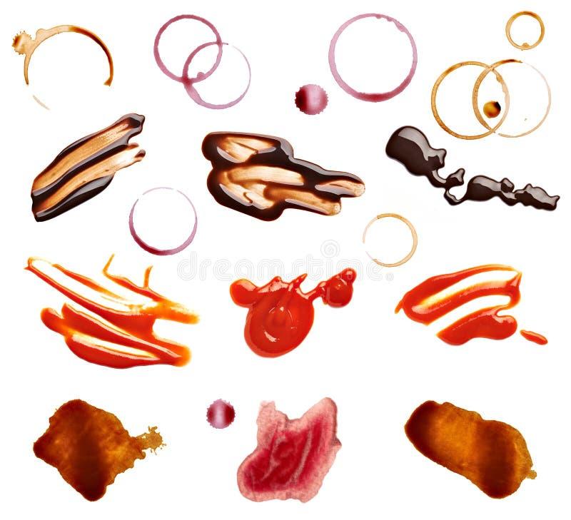 Mat för ketchup för choklad för vin för fläckfläckkaffe fotografering för bildbyråer